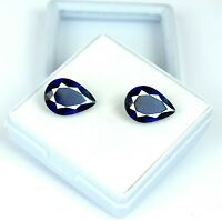 Natural 7.35 Ct Pear Blue Sapphire Loose Gemstone Matching Pair AGSL Certified