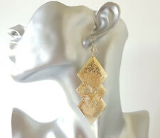 Gorgeous 9cm long gold tone etched pattern layered diamond shape drop earrings