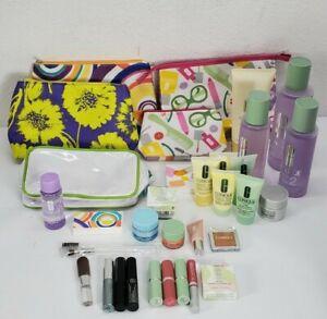 Lot Of 33 Clinique Cosmetics Lipstick Eyeshadow Lotion Mascara Travel Full Size