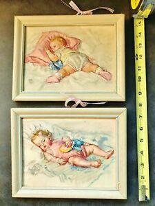 1940 Maud Tousey Fangel 3D 2 Framed Artograph Baby Doll Nursery Dydee Tiny Tears