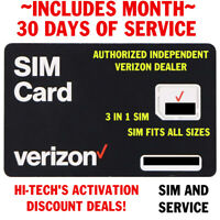 VERIZON SIM CARD with $30 PLAN 30 DAYS SERVICE 🔥1gb > D A T A < for LIFE 🔥 **