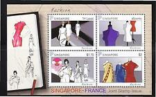 SINGAPORE 2013 FASHION FRANCE JOINT ISSUE SOUVENIR SHEET OF 4 STAMPS MINT UNUSED