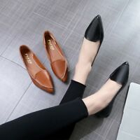 Womens Flat Casual Solid Pointed Toe Shoes Slip On Pumps Comfy Loafers Fashion
