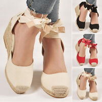 New Womens High Wedge Heel Sandals Ankle Strap Espadrille Closed Toe Shoes Sizes