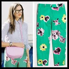 J. Crew $75 Punk Floral Emerald Green Print Ankle Crop Skimmer Pants - Size 00