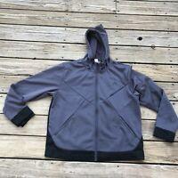 Head Men's Large Full Zip Hooded Jacket Gray Black Hoodie Fleece Lined Athletic