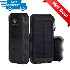 Lit Solar Power Bank Travel Flashlight Camping Dual USB Tablet Phone Charger LED