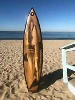 "SURFBOARD Vintage All Wood - WEBSTER ORIGINAL CUSTOM ART "" THE GREAT WHITE"""