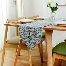 Blue Porcelain Table Runner Christmas Home Decor Cotton Linen Tassel Tablecloth