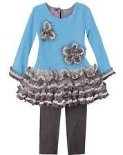 New Girls Boutique Isobella & Chloe 4 Turquoise Gray Lace Ruffle Leggings Set