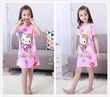 Kid Girl's Cartoon Cat Nightdress Nightgown Sleepwear Nightwear Size 8-18