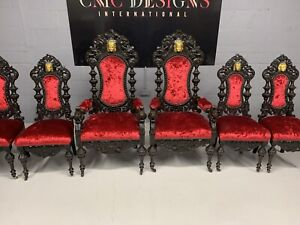 Magnificent set 6 beautiful Antique Oak Charles II style chairs French polished