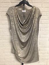 NEW Calvin Klein womens BLOUSE SHIRT TOP GOLD metallic STRETCH 1X NWT $69 #2259