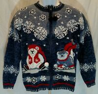 Christmas women's zipper jacket snow Polar Bear blue sweater fashion bug Medium