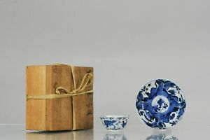 Antique Kangxi Period Blue and white Tea Bowls with Tigers Foo Dogs Mark...