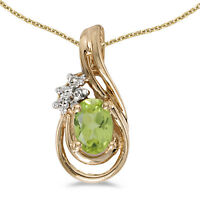 "14k Yellow Gold Oval Peridot And Diamond Teardrop Pendant with 18"" Chain"