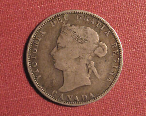 1871 CANADA 25 CENTS - QUEEN VICTORIA STERLING SILVER, NICE OLDER DATE!
