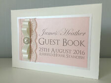 Luxury Diamante Pearl Ribbon & Lace Personalised Wedding Guest Book