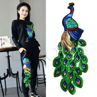 Peacock Iron-On Embroidered Patch Applique Motif Garment Decoration DIY Craft