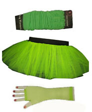UV fluo vert jupe tutu Jambières GANTS RÉSILLE 6-16