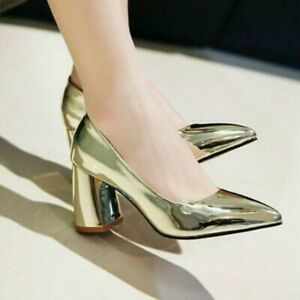 Women's Pointed Toe Dress Shoes slip on Classic Block High Heels Party Gold US 8