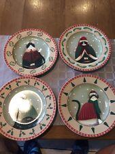 4 Sakura Fiddlestix Holiday Cats Plates Dish  Salad  Dessert Tuxedo NEW  NO box