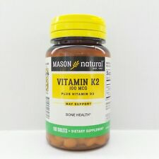 100 Tablets K2 100MCG + D3 1000IU Bone Mass, Vitamins K&D, Cardiovascular Health