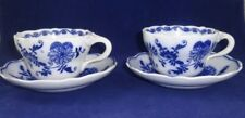 (2) Flat Cups & Saucers Set Meissen (Scalloped) by BROWN, WESTHEAD & MOORE