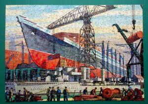 "1950s GOOD COMPANION JIGSAW PUZZLE ""SHIPBUILDING"" COMPLETE & BOXED 400 PCES"