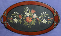 Vintage wood serving tray with metal handles, embroidery flowers and glass cover