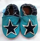 NEW SOFT LEATHER BABY PRAM FIRST SHOES 0-6, 6-12, 12-18, 18-24, MTHS AQUA STAR