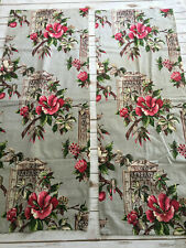 Cottage Shabby Vintage Gray Pink Floral Barkcloth Fabric~ 2 pieces