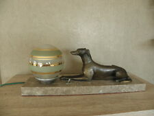 LAMP ART DECO table figurine desck vintage french marble light Licht bronze dog