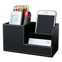 Cuoio scrivania cancelleria Box Organizzatore, Ufficio Desktop Organizer co R1A5