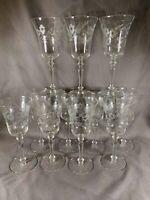 11 Vintage Depression Glass Etched Floral ELEGANT WINE GLASSES  e368