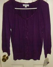 NWT Merona ruffle trim, button front sweater  SIZE L