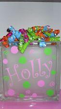 "Name & Dots swirls Decal Sticker for 8"" Glass Block Night light Kids Room"