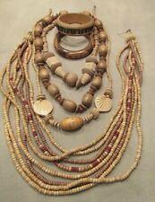 Vintage Wood Jewelry Lot Necklace & Bracelets Mixed Lot