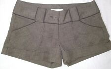 WOMEN CHARLOTTE RUSSE CUFFED DRESS SHORTS BROWN PLAID SIZE 5