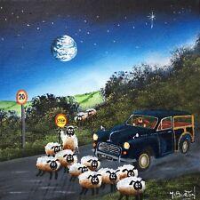 MAL.BURTON ORIGINAL OIL PAINTING. CRAZY SHEEP  DIRECT FROM ARTIST NORTHERN ART