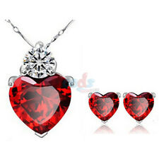 "18"" 925 Sterling Silver Red Garnet Heart Crystal Pendant Necklace Fashion Gift"