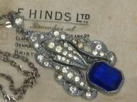 ART DECO RHINESTONE pendant set with BRISTOL BLUE OPENBACK CRYSTAL PASTE