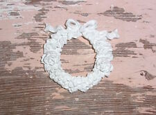 SHABBY n CHIC FURNITURE APPLIQUES SET OF 2  ROSE BOW WREATH * FLEXIBLE PAINTABLE