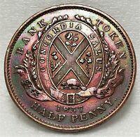 1837 City Bank (Province of Canada) Un Sou Half Penny Bank Token - Breton # 522