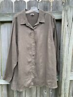 J. Jill Brown Linen Long Sleeve Button Down Tunic Top Size 2X Large Blouse