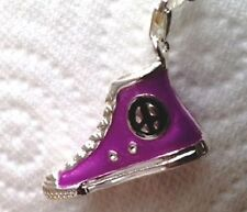 LOVELY PURPLE & SILVER SNEAKER TRAINER SHOE BOOT CLIP ON CHARM - SILVER/PLATE