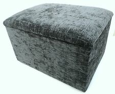 GREY CHENILLE FOOTSTOOL-POUFFE WITH STORAGE  FREE P&P