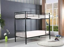 Childrens Black Saffron Metal Bunk Bed Twin Sleeper Kids Frame Bed