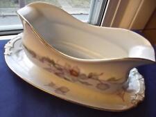 """Vintage Epiag Aich 20"""" Gravy Boat Czechoslovakia Porcelain Pink Lavender Blossom"""