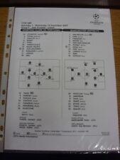 19/09/2007 Teamsheet: Sporting Lisbon v Manchester United [Champions League] .